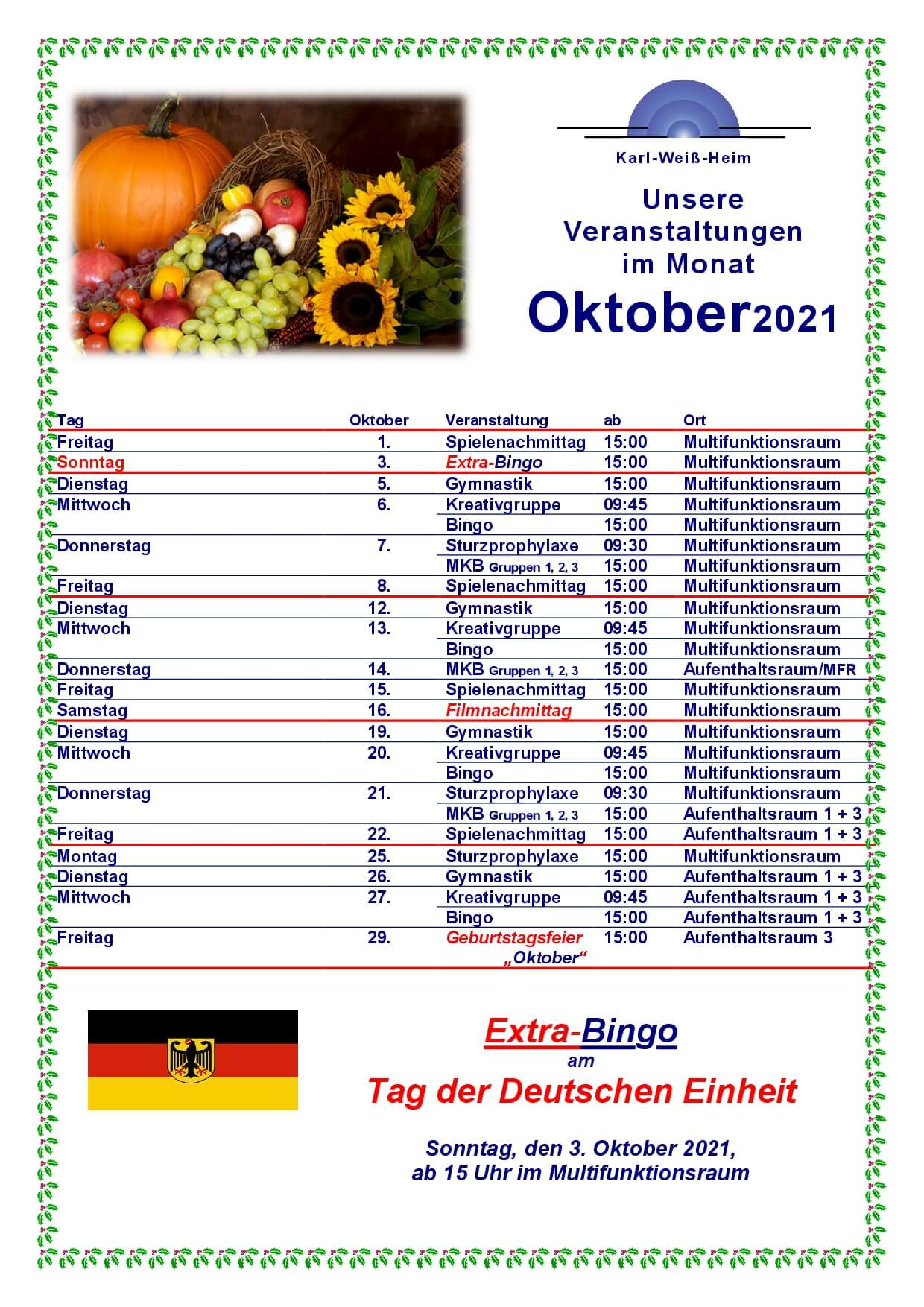 Karl-Weiß-Heim Veranstaltungen Oktober